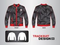 红色和黑田径服设计传染媒介例证夹克设计 图库摄影