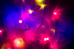 红色和黄色假日bokeh 抽象背景圣诞节 库存图片