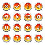 红色和黄色圆的按钮 库存照片