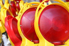 红色和黄色小心标志,德国 免版税库存图片