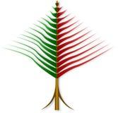 从红色和绿色小条提取被扭转的圣诞树 免版税库存照片