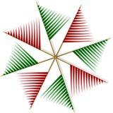 从红色和绿色小条的抽象轮转焰火 库存图片
