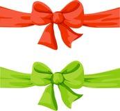 红色和绿色弓例证 免版税库存图片
