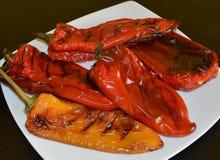 红色和黄色新鲜的烤烤甜椒削皮在做的沙拉白色瓷板材 图库摄影
