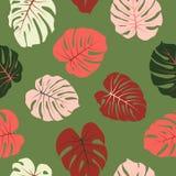 红色和绿色热带密林留给传染媒介无缝的样式 酸碱度 库存图片