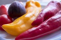 红色和黄色甜椒、红色蕃茄和一棵深紫罗兰色无花果 库存图片