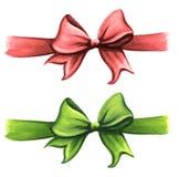 红色和绿色礼物丝带弓剪贴美术集合 库存照片
