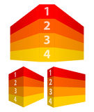红色和黄色编号了在透视的行象3d墙壁 免版税库存图片
