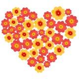 红色和黄色花在心脏塑造安排 免版税库存图片