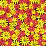 红色和黄色花无缝的样式 库存图片
