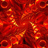 红色和黄色玻璃球深隧道  免版税库存照片