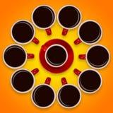 红色咖啡杯和一个茶碟创造性的布局在橙色背景 免版税库存图片