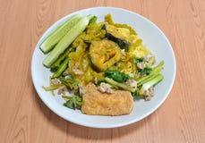 红色咖喱苦黄瓜用鲶鱼和混乱油煎的蛋豆腐 免版税库存照片