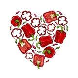 红色响铃Peper心脏形状花圈 一半胡椒裁减甜辣椒粉和圆环  新鲜的成熟未加工的蔬菜诗歌选 库存照片