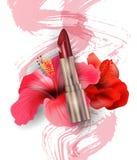 红色唇膏和红色热带花木槿 秀丽和化妆用品背景 模板传染媒介 免版税库存图片