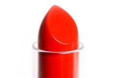 红色唇膏的技巧 宏指令 特写镜头 笤帚查出的白色 图库摄影