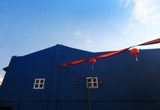 红色唐人街欢乐的灯笼 库存照片