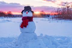 红色围巾的雪人 库存图片