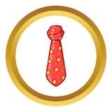 红色圆点脖子领带传染媒介象,动画片样式 库存照片