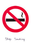 红色圆的禁烟标志,中止烟草救球您的生活 图库摄影