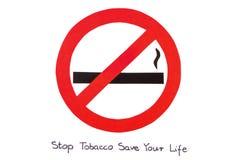 红色圆的禁烟标志,中止烟草救球您的生活 免版税库存图片