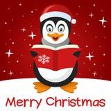 红色圣诞卡逗人喜爱的企鹅 库存例证