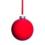 红色圣诞树球 库存照片