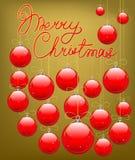 红色圣诞树装饰 图库摄影