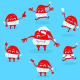 红色圣诞老人帽子圣诞节动画片字符集 库存图片