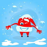 红色圣诞老人帽子圣诞节漫画人物概念 库存照片