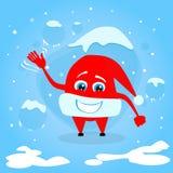 红色圣诞老人帽子圣诞节漫画人物概念 免版税图库摄影