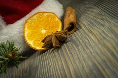 红色圣诞老人帽子桂香橙色茴香杉木分支 免版税库存图片