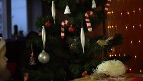 红色圣诞老人帽子的一个甜小女孩装饰一棵圣诞树 股票视频