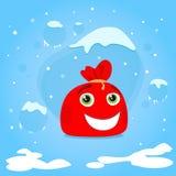 红色圣诞老人袋子漫画人物圣诞节礼物 免版税库存照片