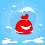 红色圣诞老人袋子漫画人物圣诞节礼物 库存图片