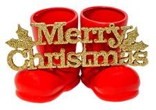 红色圣诞老人起动,有圣诞快乐的鞋子写,被隔绝的信件,白色背景 免版税库存照片