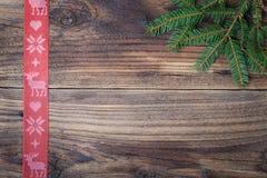 红色圣诞节丝带 免版税库存照片