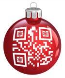 红色圣诞节中看不中用的物品,与装饰品QR代码 图库摄影