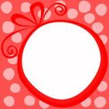 红色圣诞节圆的礼物框架卡片 免版税库存图片
