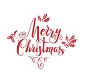 红色圣诞节字法 库存例证