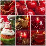 红色圣诞节拼贴画 免版税库存照片
