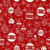 红色圣诞节无缝的样式。 免版税图库摄影