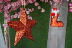 红色圣诞节星形 库存图片