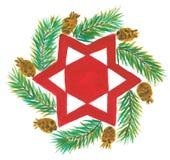红色圣诞节星形 免版税库存照片