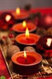 红色圣诞节欢乐蜡烛 免版税库存照片