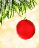 红色圣诞节泡影 免版税库存图片