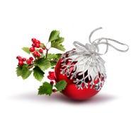 红色圣诞节球山楂树 免版税库存照片