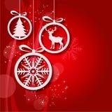 红色圣诞节球抽象背景2 免版税库存图片