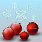 红色圣诞节球,欢乐背景 图库摄影