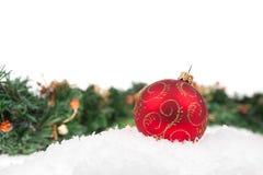 红色圣诞节球 库存图片